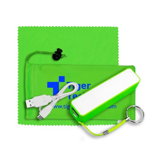 TechBank Mobile Tech Power Bank Accessory Kit in Microfiber Cinch Pouch