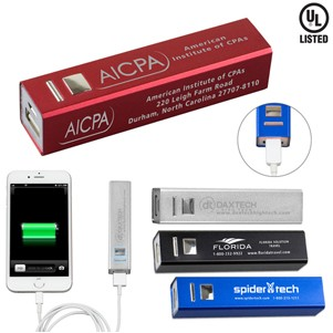 """In Charge Alloy"" UL® Aluminum 2200 mAh Portable Power Bank Charger"