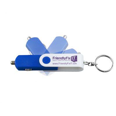 """Prague"" USB Car Charger & Adapter w/Detachable Swivel Keychain (Overseas)"