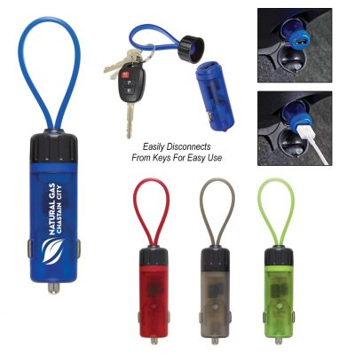 Luminous USB Car Charger Key Strap