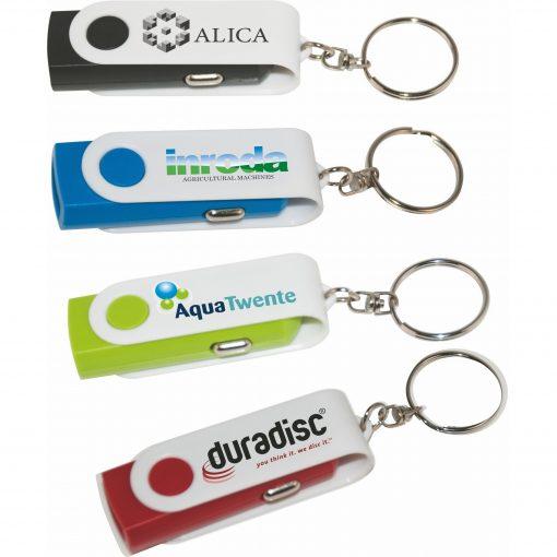 Swivel USB Car Charger Keychain