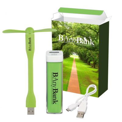 UL Listed Charge-It-Up Power Bank & Mini USB Fan Combo