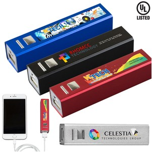 """In Charge Alloy"" UL Listed Aluminum 2200 mAh Lithium Ion Portable Power Bank Charger (Full Color)"