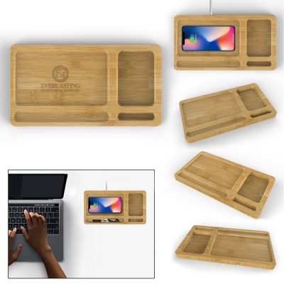 Bamboo Wireless Charger Tray - 10W
