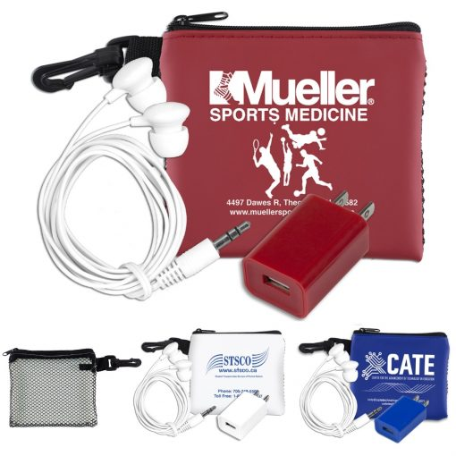 """""""TechMesh Charge"""" Mobile Tech Earbud & Charger Kit in Mesh Zipper Pouch"""