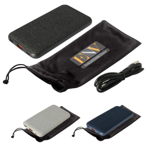 10000 MAH Wireless Charging Pad & Power Bank With Pouch