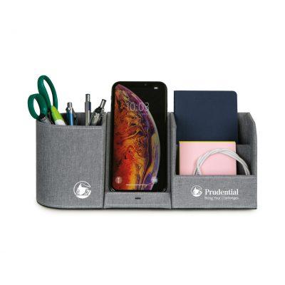 Truman Wireless Charging Desk Organizer - Medium Grey Heather