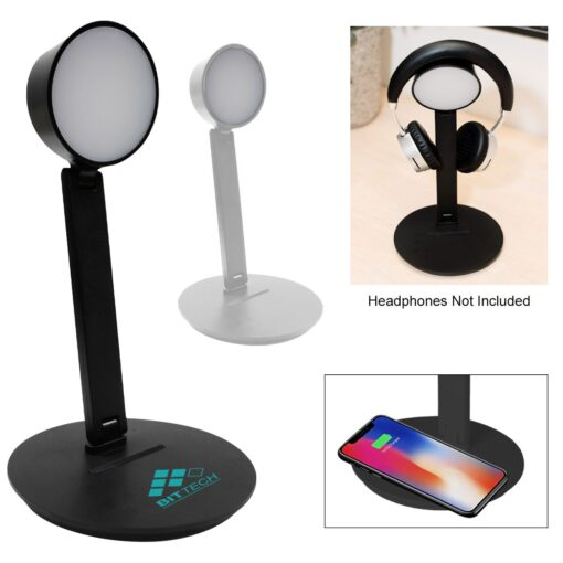 Vanity Light Wireless Charger With Headphone Stand